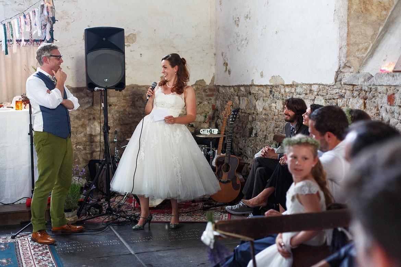 the bride makes a speech