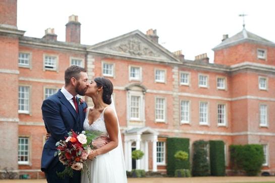 bride and groom outside kimberley hall
