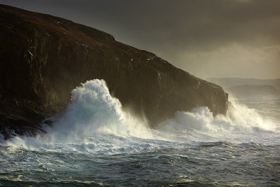 rough seas on the north west coast of scotland