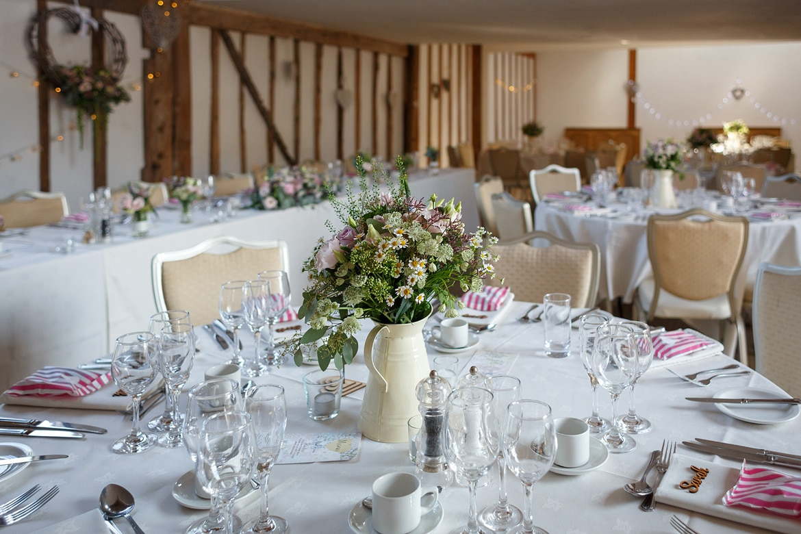 the dining room laid out at maidens barn
