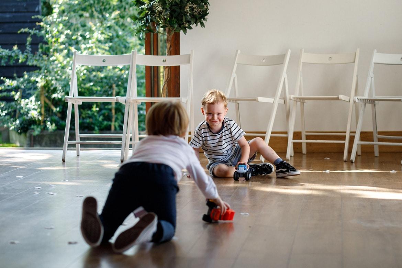 children play inside maidens barn