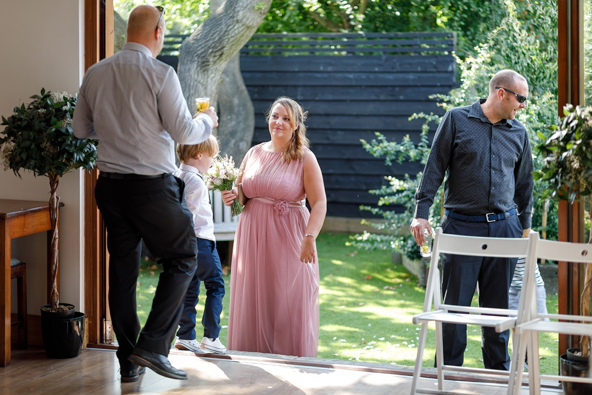 a bridesmaid talks to her family