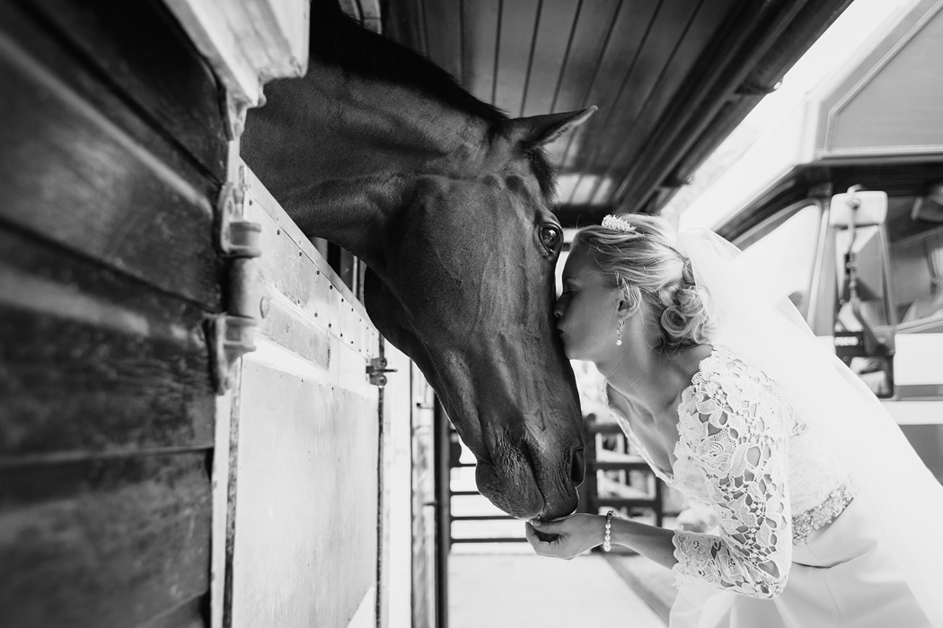 a bride kissing her horse