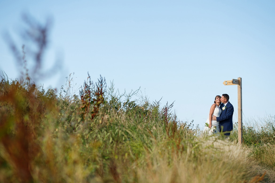 north norfolk wedding photos on the coastal path