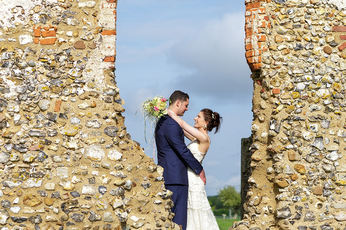 a couple portrait at godwick church ruins