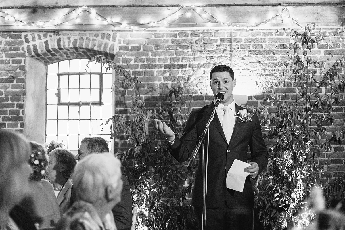 the groom gives his speech