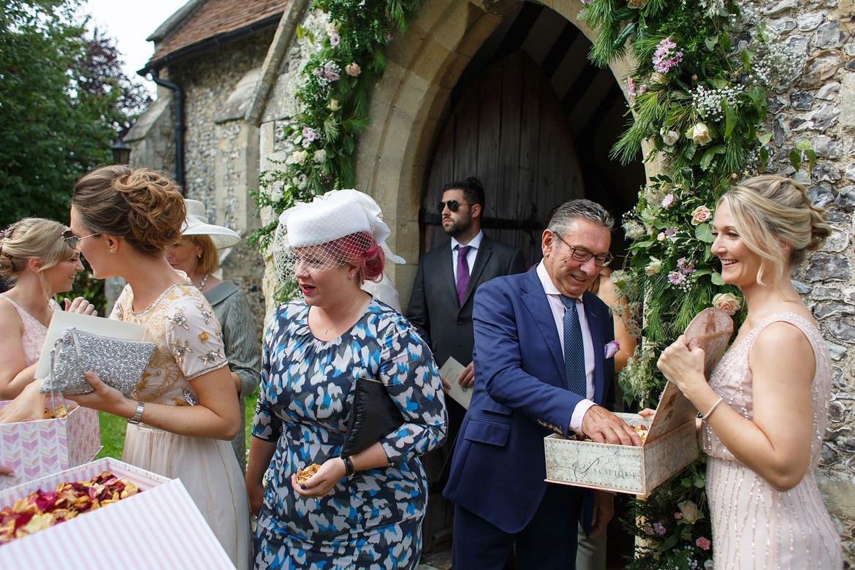 guests take confetti