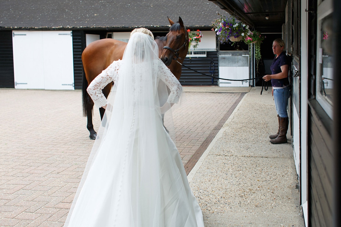 the bride greets her horse