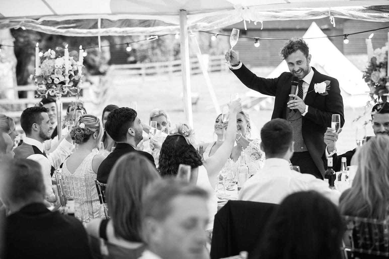 the groom makes a toast