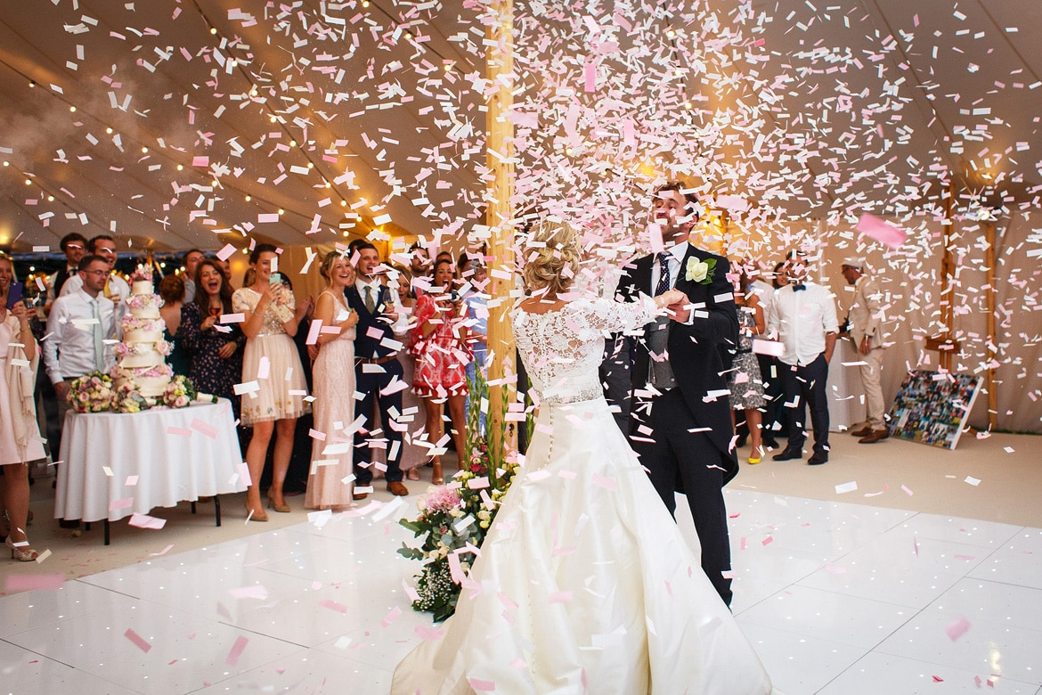 a confetti storm during the first dance