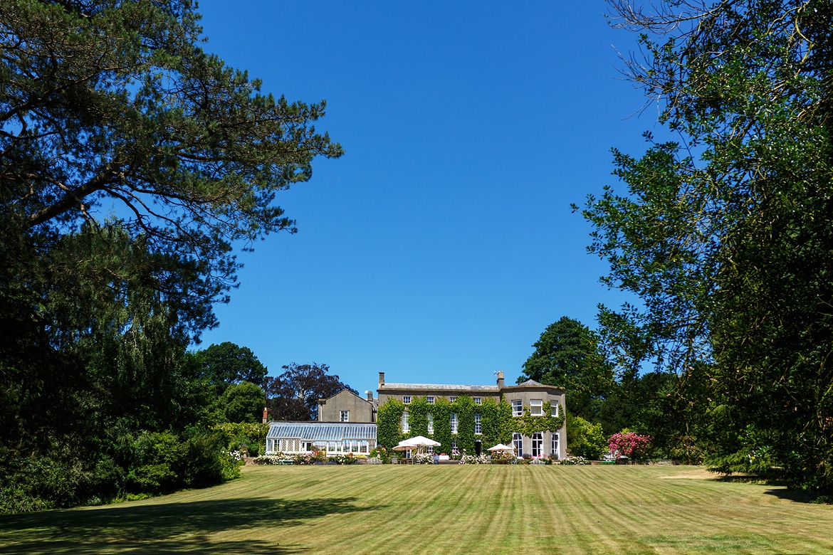 pennard house seen from the bottom of the lawn