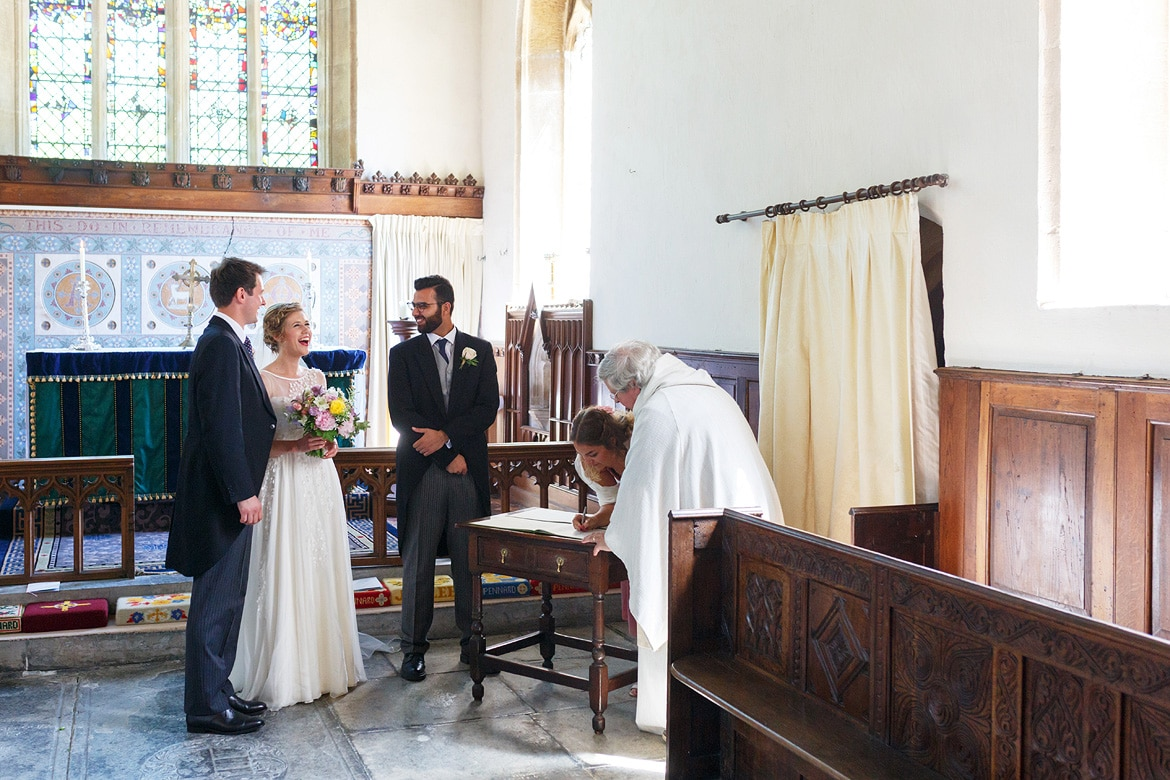 signing the register in pennard church