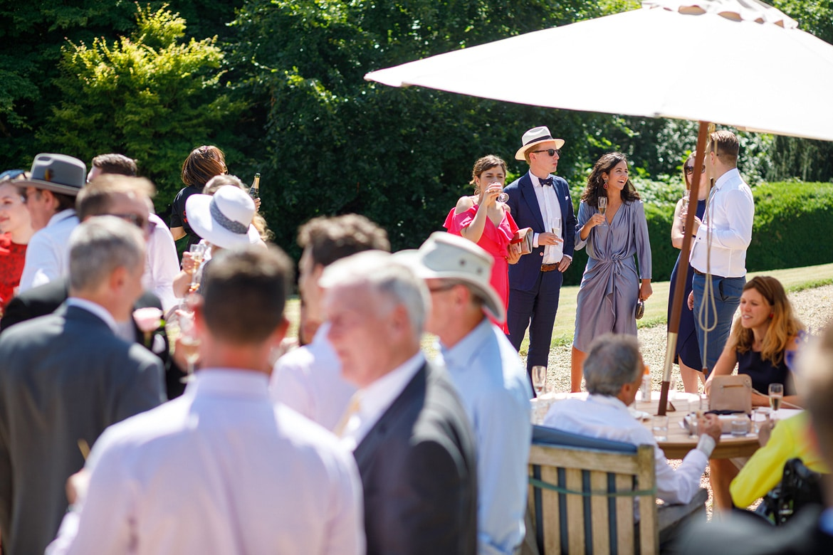 wedding guests on the lawn at pennard house