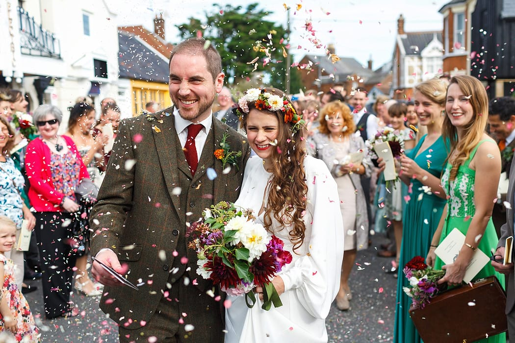 confetti at a southwold wedding