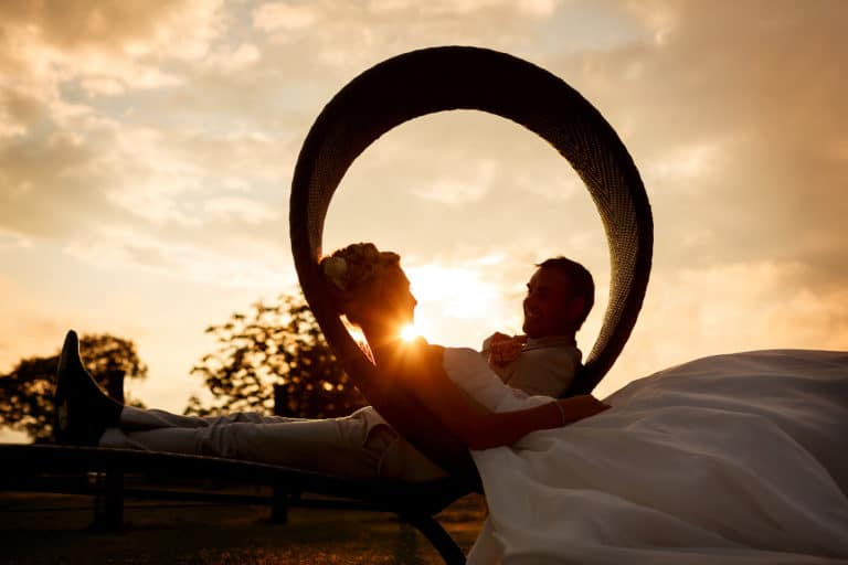sunset portrait at a southwood hall wedding