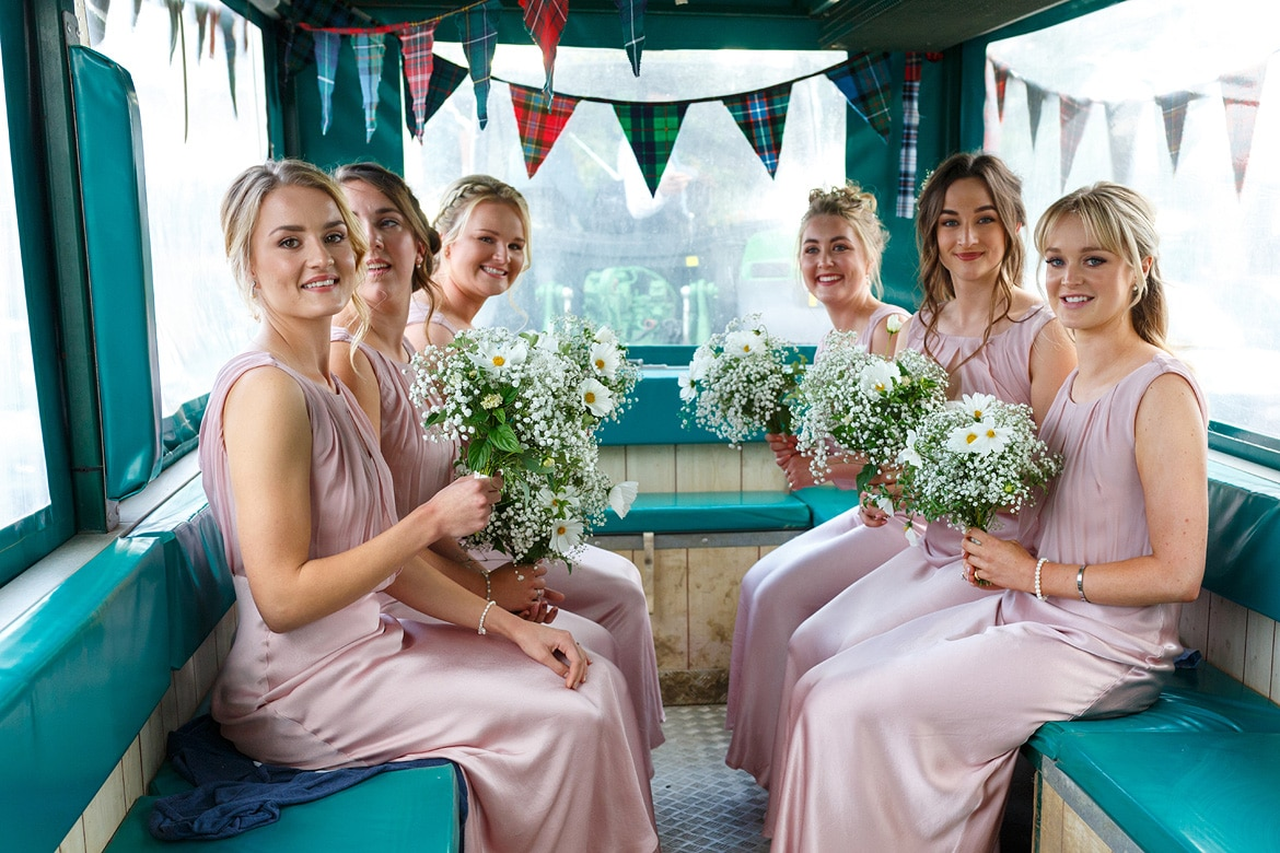 the bridesmaids in the cart