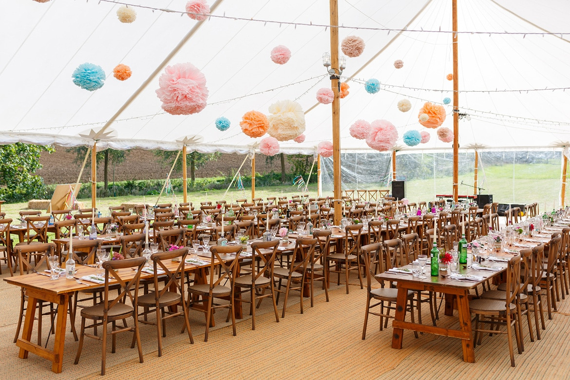 the marquee laid out for an autumn wedding in suffolk