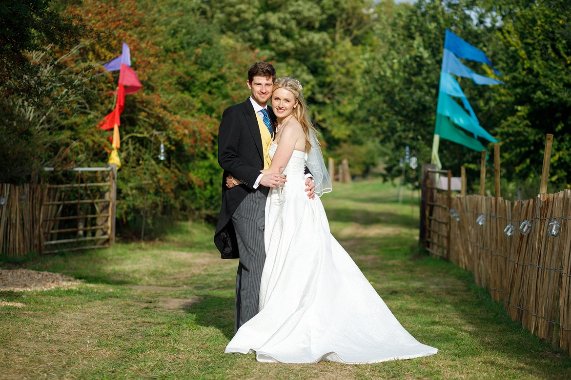 bride and groom portraits at an autumn wedding