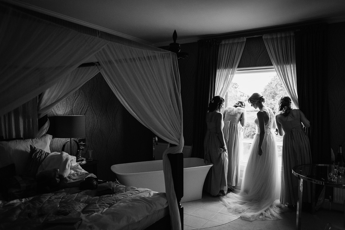 a quiet moment with the girls before a godwick barn wedding