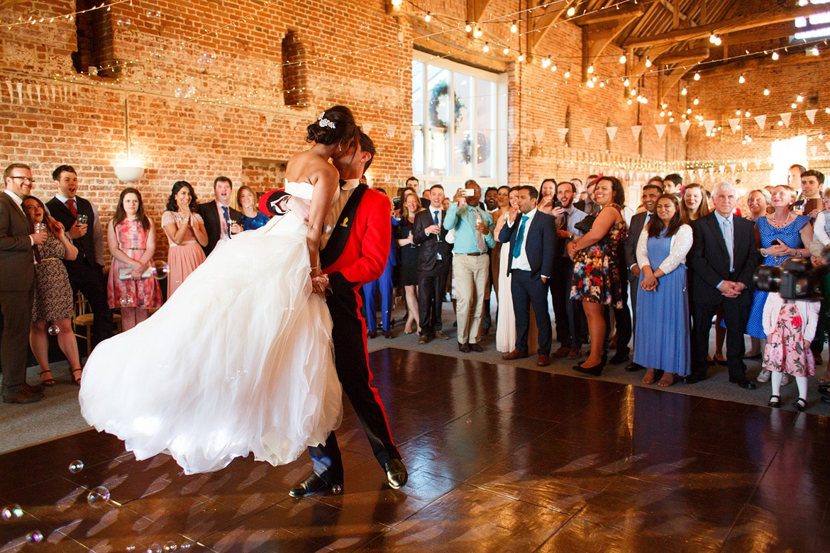 first dance at a godwick barn wedding