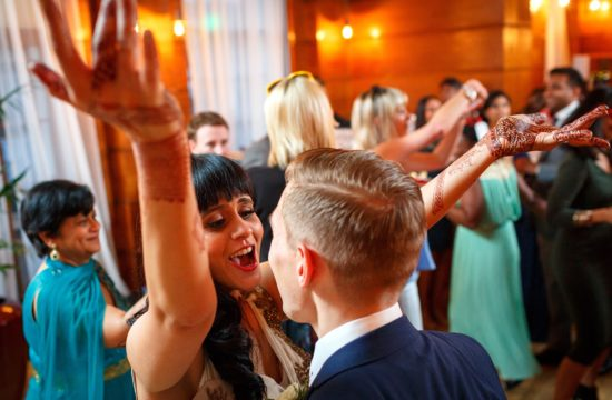 dancing at a town hall hotel wedding