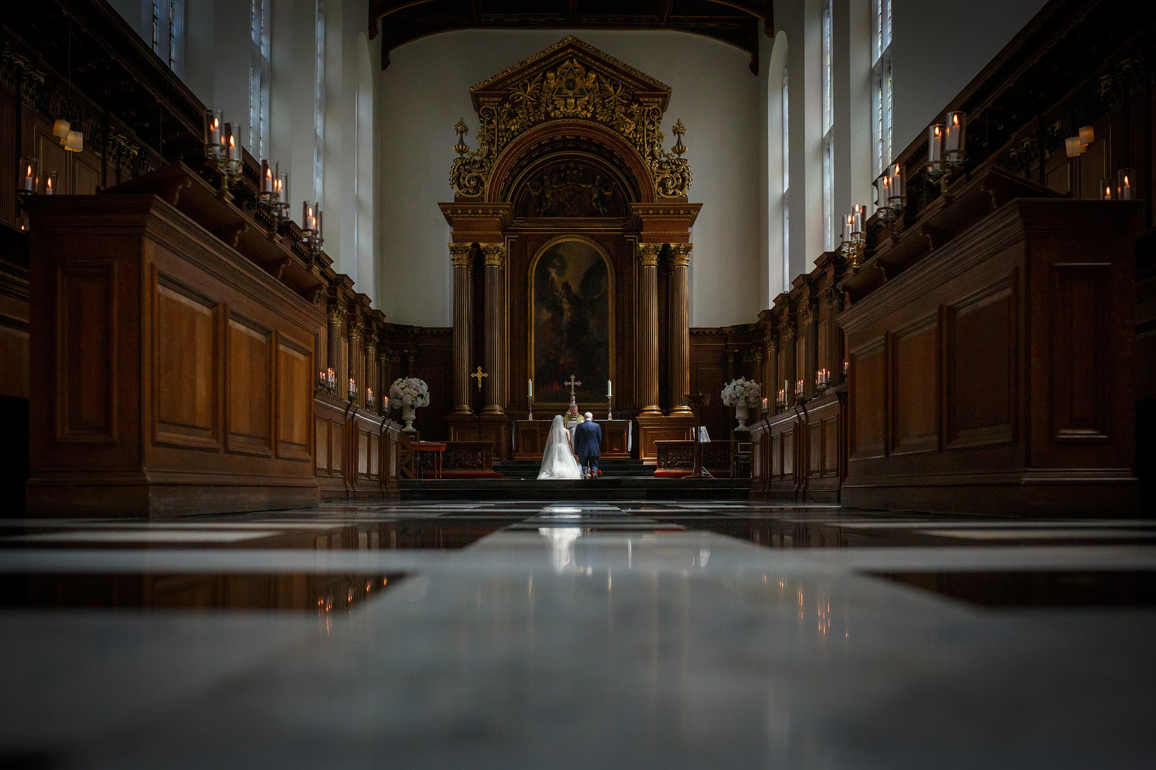 beautiful light during a trinity college wedding