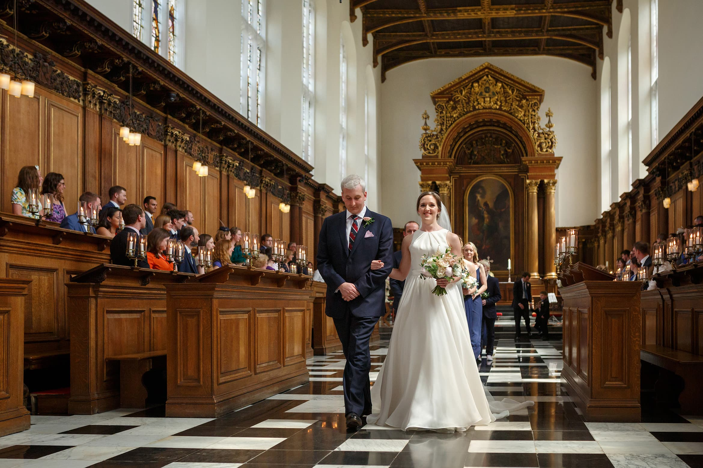 leaving a cambridge college wedding ceremony