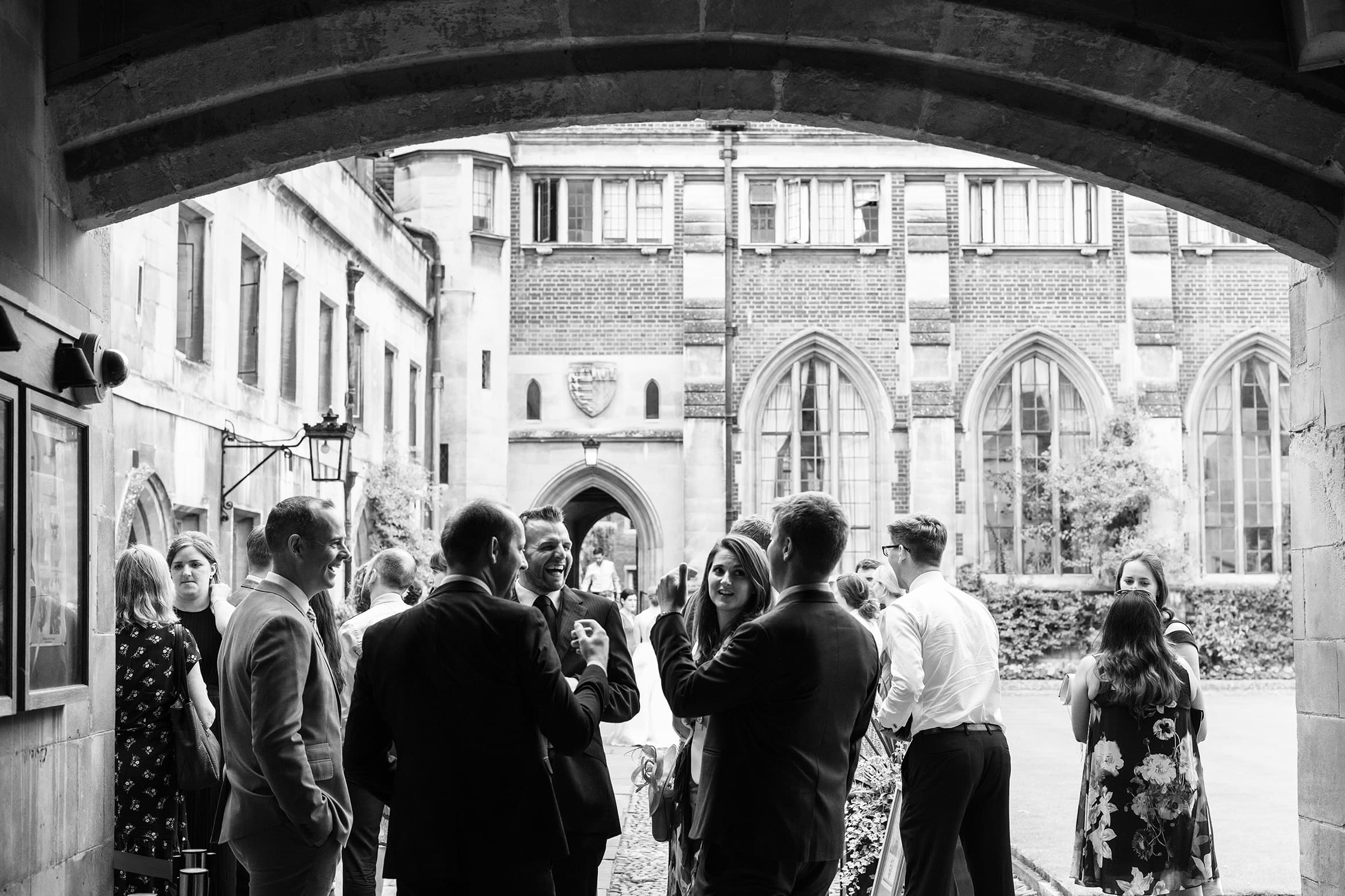 laughter in the courtyard at pembroke college