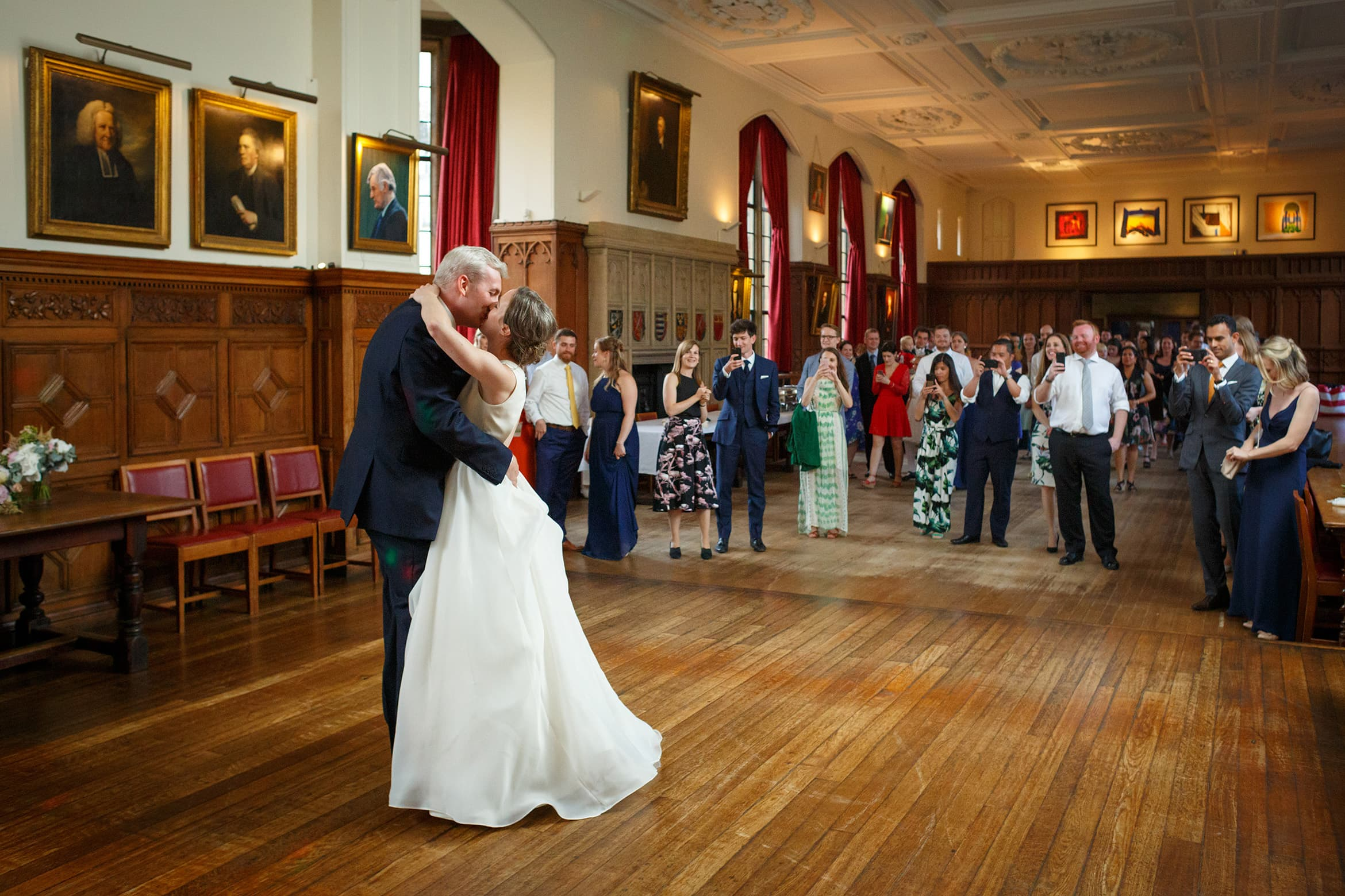 bride and grooms first dance at a pembroke college wedding