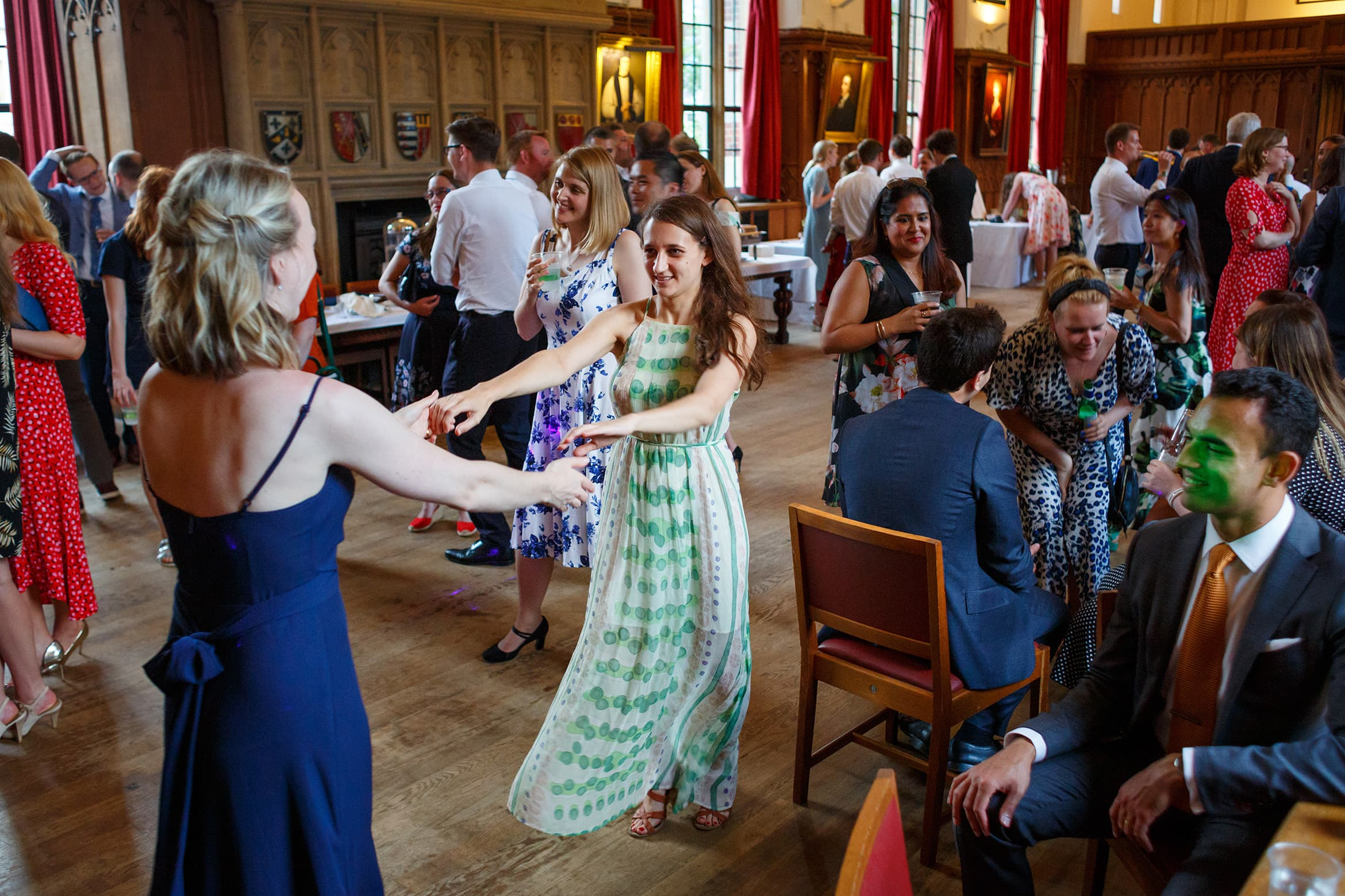 guests dance at a cambridge college wedding