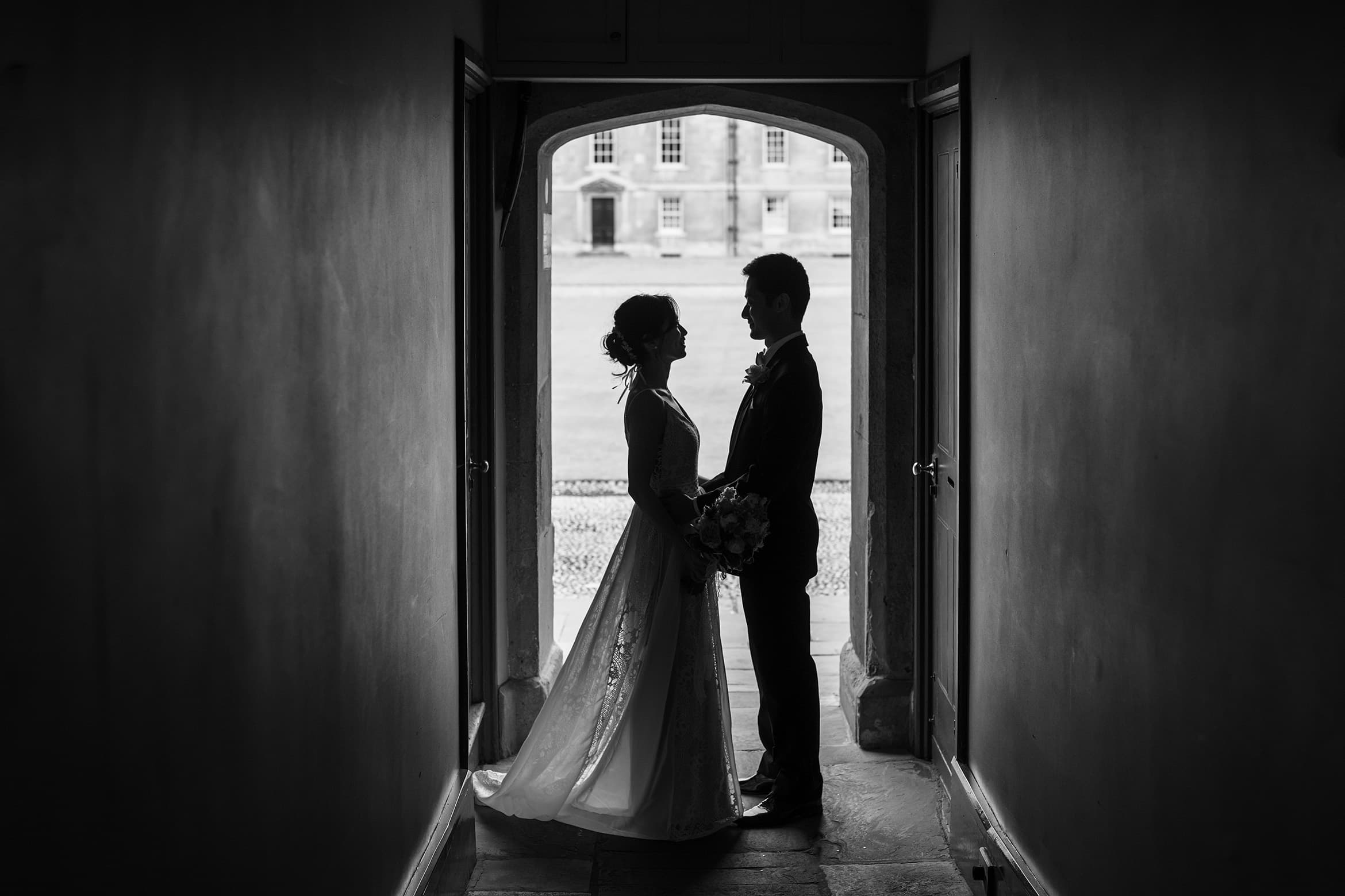 bride and groom portraits at trinity college