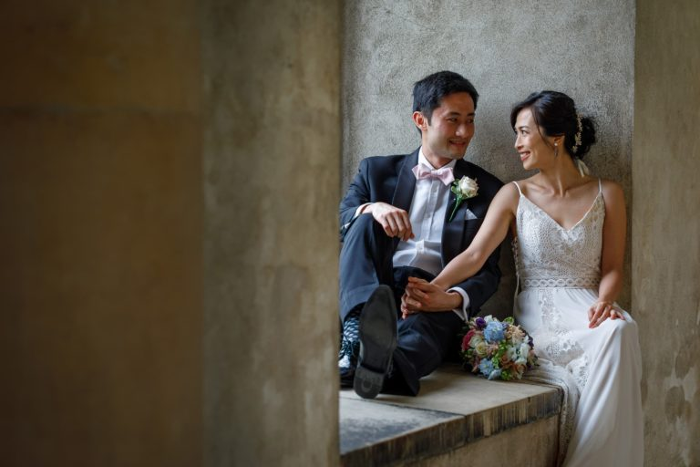 wedding portrait in the wren cloisters