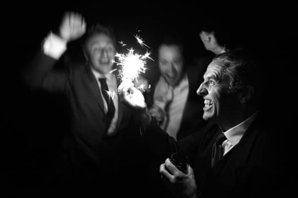 wedding sparklers at a kingscote barn wedding